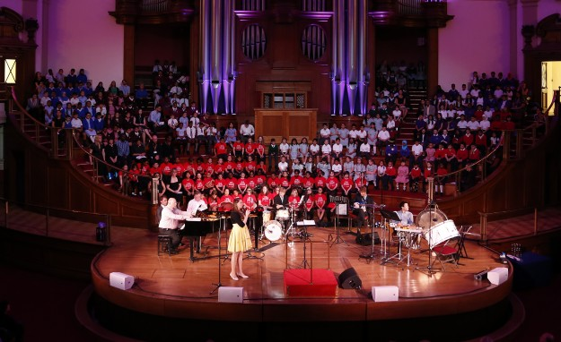 June 2016, 'Lights, Stories, Noise, Dreams, Love, and Noodles': Over 200 children graced the stage of Central Hall Westminster for our London-themed concert